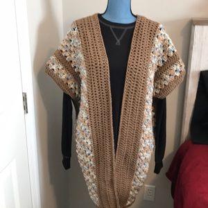 Handmade crochet kimono Tan/blue